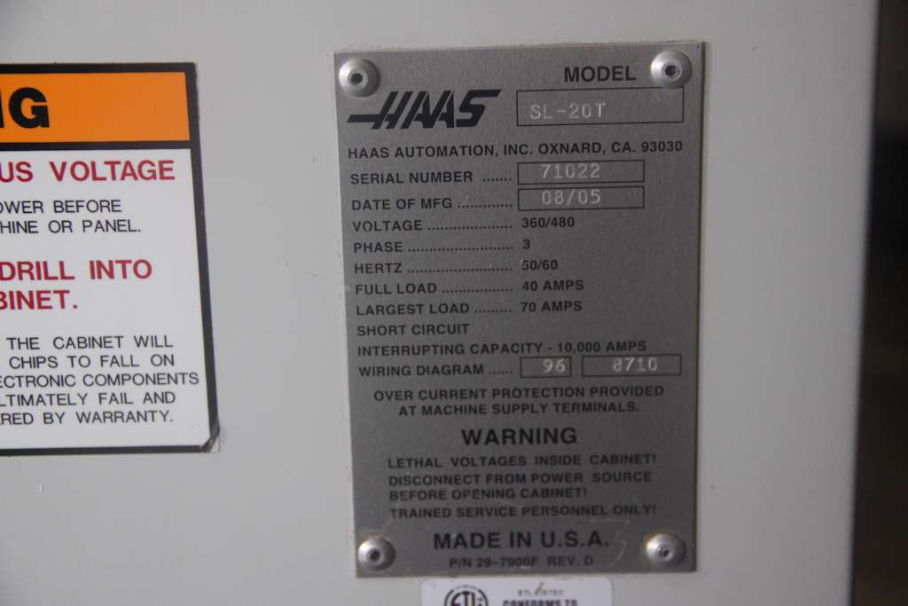 Used machine consignment - Haas SL-20 Toolroom Slant Bed CNC ... on